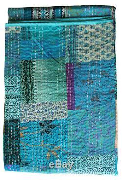 0Handmade Silk Kantha Vintage Sari Throw Patchwork Quilt Ralli Indian 6090 Blue