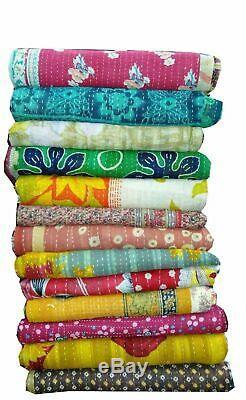 10 PC LOT Vintage Handmade Kantha Quilt Reversible Cotton Indian Blanket Throw