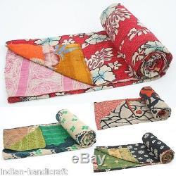 10 Vintage Kantha Gudri Reversible Throw Ralli Bedspread Bedding Quilts