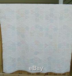 100% HAND SEWN QUILT vintage antique HANDMADE Cotton 88 x 64 5 STARS