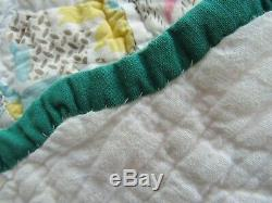100% HAND SEWN QUILT vintage antique quilt HANDMADE hexagon patch Cotton 80x71
