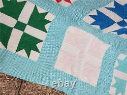 (103) GORGEOUS! Gingham Aqua Vintage Quilt GOOSE TRACKS Handmade