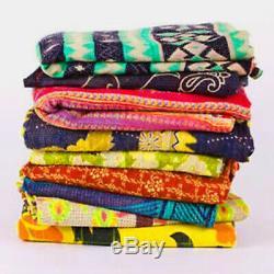 10pc Lot Indian Kantha Quilt Vintage Reversible Throw Handmade Blanket Wholesale