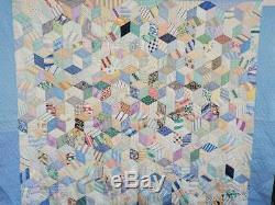 (130) BEAUTIFUL Vintage Quilt TUMBLING BLOCKS Handmade Feed Sack Fabrics