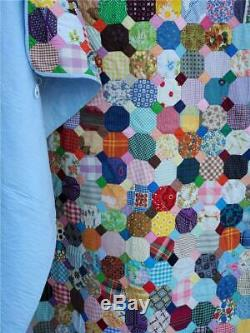 (148) BRIGHT & SPUNKY Vintage Handmade SNOWBALL Quilt