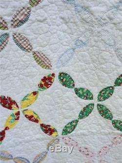 (19) WONDERFUL! Vintage Quilt CHAIN of PETALS Handmade
