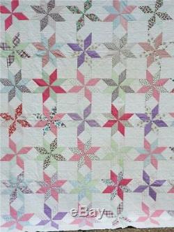 (190) WONDERFUL Vintage Quilt 8 POINT STAR Handmade