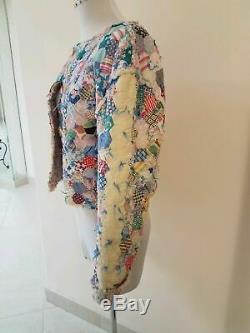 1930s 30s Patchwork Quilt Jacket Feedsack Sz S/M Bakelite buttons