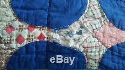 1930s Antique Vintage Handmade Farmhouse Quilt Blue Snowballs on Patchwork