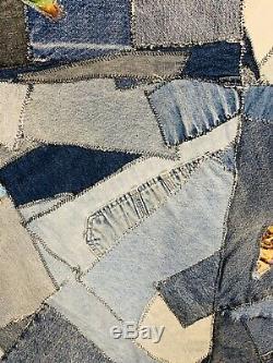 1980s Vintage Crazy Quilt Vintage Denim Quilt Handmade Horse Quilt Heavy 90x74