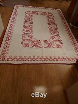 2 Vintage/Antique Handmade Hand Stitched twin size Quilts Embroidered