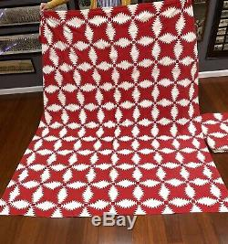 2 Vintage Handmade Pair Early 1900's Twin Red & White Pineapple Patchwork Quilts