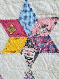 (234) WONDERFUL Vintage Quilt 6 POINT STARS or SNOBALL Handmade
