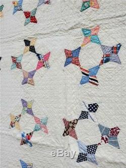(249) SIMPLE & BEAUTIFUL Vintage Quilt HUMMINGBIRD Handmade