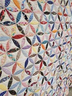 (302) INCREDIBLE Vintage Quilt ORANGE PEEL or JOSEPH'S COAT Handmade FEEDSACK