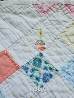 (343) SWEET Vintage Quilt DOUBLE IRISH CHAIN Pastels Handmade