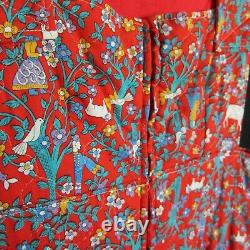 70s Vtg Maxi Skirt Jumper Quilted Rustic Red Print Floral Sz 4 Boho Cottagecore