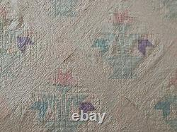 80 Antique Flower basket handmade quilt twin to full vintage faded pink