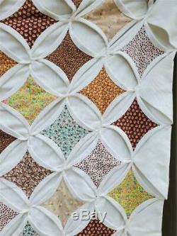 (9) WONDERFUL Vintage CATHEDRAL WINDOW Quilt Handmade