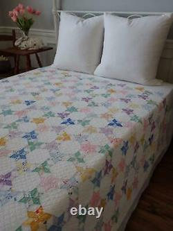 A Fabulous Chain of Tiny Stars! Vintage 30s Feedsack QUILT 84x60