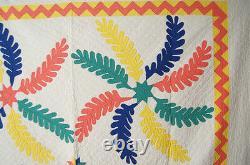 AMAZING Vintage 30's Princess Feather Star Applique Antique Quilt ZIGZAG BORDER
