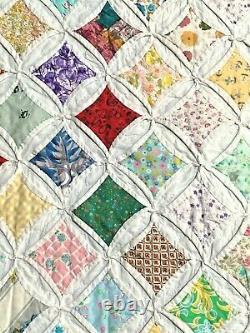 ANTIQUE FABULOUS HAND MADE QUILT 78 x 67, Cotton hand sewn Vintage. OOAK 3-D