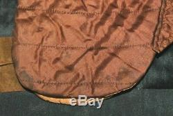 AUTHENTIC ANTIQUE QUILTED BONNET HAT HANDMADE SILK BROWN ca. 1800s