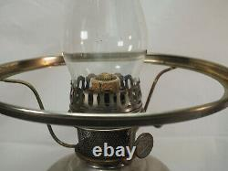Aladdin #11 Metal Nickle Oil Lamp tall glass chimney quilted blue glass shade