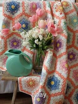 Amazing Vintage 30s Tiny 1 Pieces Flower Garden QUILT 82x74 Beautiful Peach