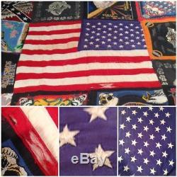 Amazing Vintage HARLEY DAVIDSON AMERICAN FLAG Handmade 72x77 Quilt Biker Blanket