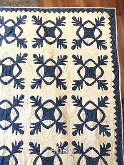 Amazing Vintage c 1850 Oak Reel Applique Antique Quilt Indigo Blue Calico WOW