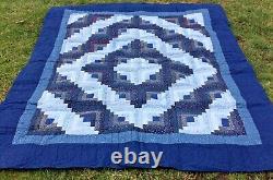 Amish Handmade Sunshine & Shadow Quilt Blue Calico Elaborate Hand Sewn Quilting