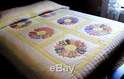 Amish Vintage Handmade Applique Quilt Lancaster Pa. Dresden Plate 73x94
