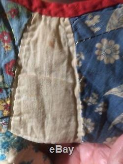 Amish Vintage Handmade Quilt Red Edge Scalloped Border Reversable Blue White