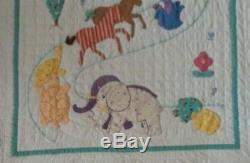Antique 1930s Noah's Ark Crib Quilt Vintage Folk Art Hand Made Rare Very Nice