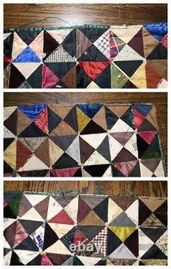 Antique 19th century handmade embroidered sewn American Crazy Quilt blanket