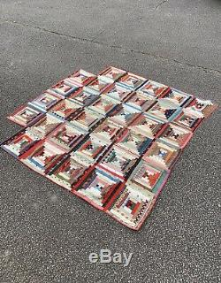 Antique American Log Cabin Patchwork Quilt Throw Bedspread Hand Sewn Handmade