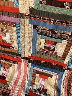 Antique American Log Cabin Patchwork Quilt Throw Bedspread Hand Sewn Handmade
