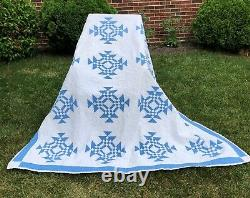 Antique Cornflower Blue & White Quilt Young Mans Fancy by Hand 1920s Nice Clean