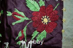 Antique Crazy Quilt Dated 1888, Hand Made, Heavily Embroidered 68 x 57