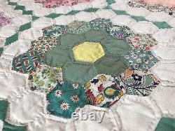 Antique Feedsack Grandmothers garden multicolor hexagon handmade quilt 75x79.5