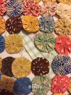 Antique Feedsack Yo Yo Suffolk Puff Handmade Quilt Top Vintage c. 1930s 100 X 74