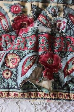 Antique Hand Blocked Country French Quilt c1820-1830Rose Border42LX41W