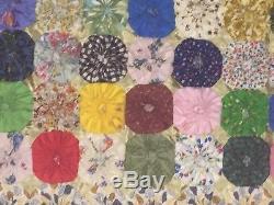 Antique Hand Stitched YO-YO QUILT Heavy 88 x 82 Vintage Handmade