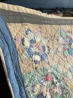 Antique Handmade Feed Sack Star Quilt