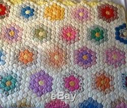 Antique Handmade Grandmas Flower Garden Quilt Stitched Vintage Hexagon Patch