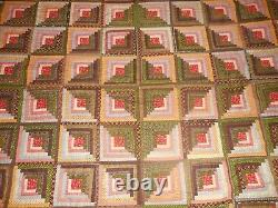 Antique Handmade Log Cabin Diamond Style Quilt