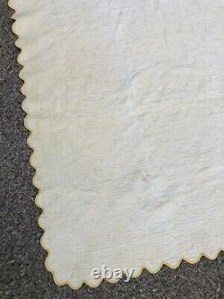Antique Handmade Yellow White Drunkards Path Feedsack Quilt 101 x 78 vintage