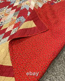 Antique Lone Star Quilt, Cheddar/Red, 70 x 83, Handmade