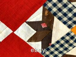 Antique PA c 1870-80s Hands Around QUILT Top Cheddar Brown Red Dogtooth Border